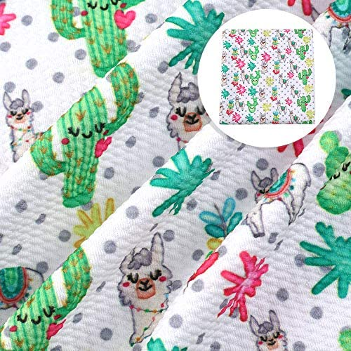 David Angie Cactus Sheep Pattern Bullet Textured Liverpool Fabric 4 Way Stretch Spandex Knit Fabric by The Yard for Head Wrap Accessories (Plant)