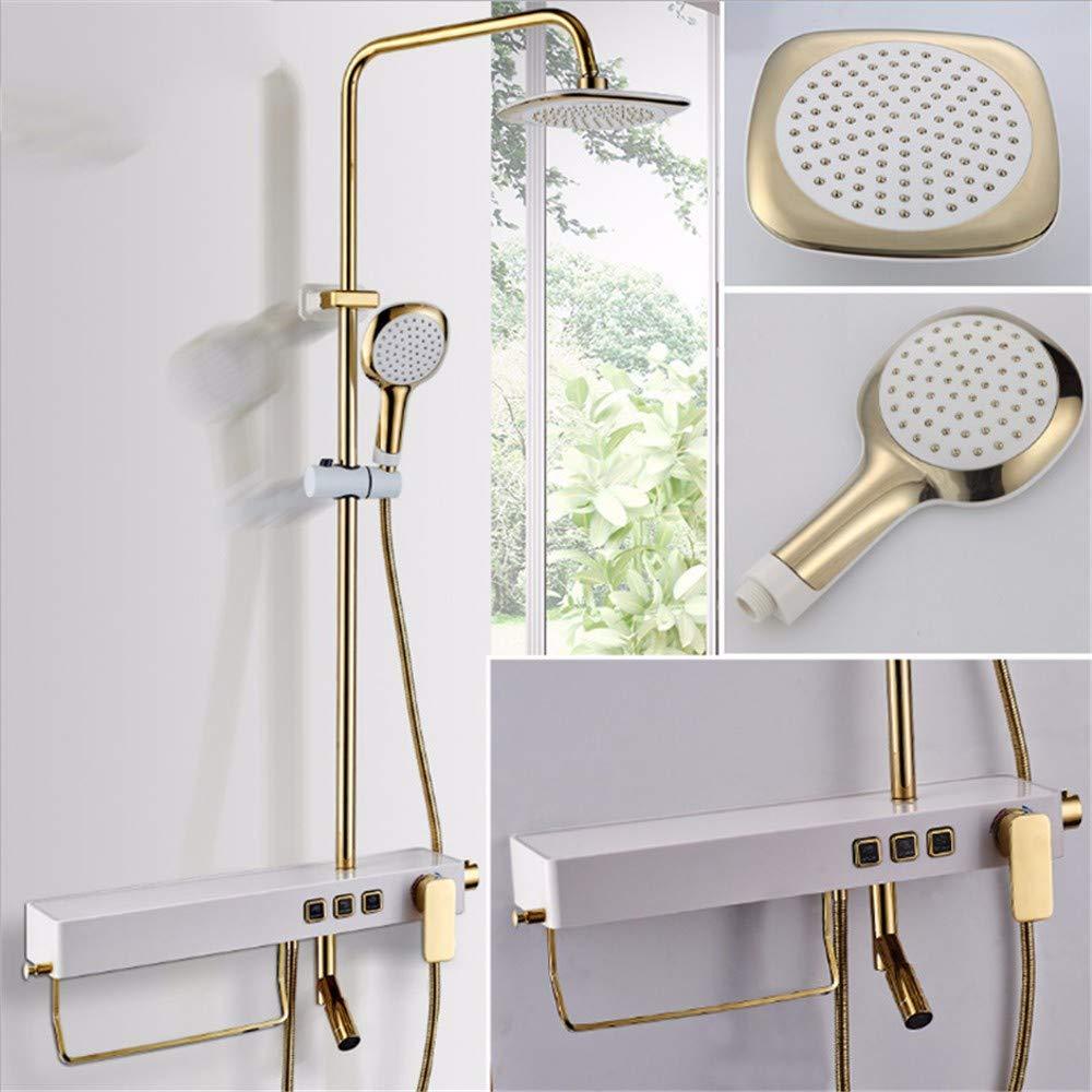 Qzz Weacp Shower Square Shower Copper Concealed Shower Faucet Hand Shower Set with Shelf Button Shower, Third Gear QZZ