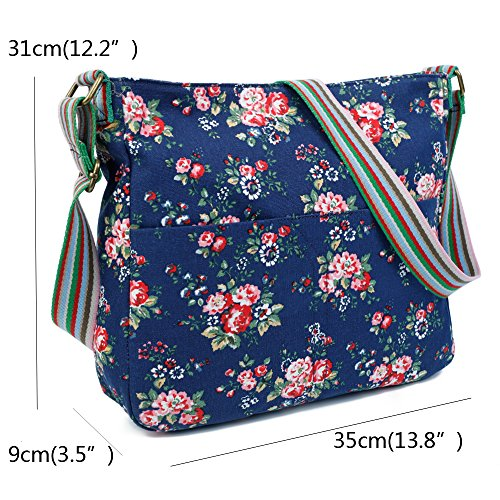Womens London Flower Messenger Bag Shoulder Design Trendy Flower Canvas Body Cross Apricot Craze 5FxqT15