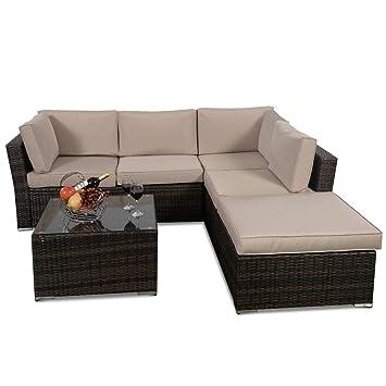 Amazon.com: 4 pcs Wicker Cushioned 5 Seat Sofa Furniture Set ...