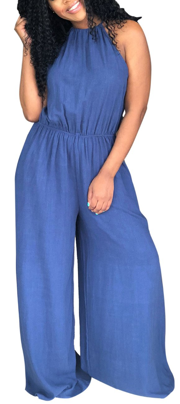 Casual Loose Wide Legs Denim Jumpsuits For Women