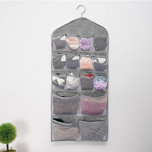 medias Perchas de terciopelo Organizador de Armario Colgante art/ículos de beb/és 20 bolsillos grises de doble cara de m/últiples funciones Mesh Pocket Percha de metal para ropa interior