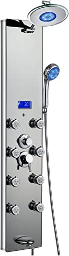 Blue Ocean 52 Aluminum SPA392M-L Shower Panel Tower with Rainfall Shower Head, 8 Multi-functional Nozzles