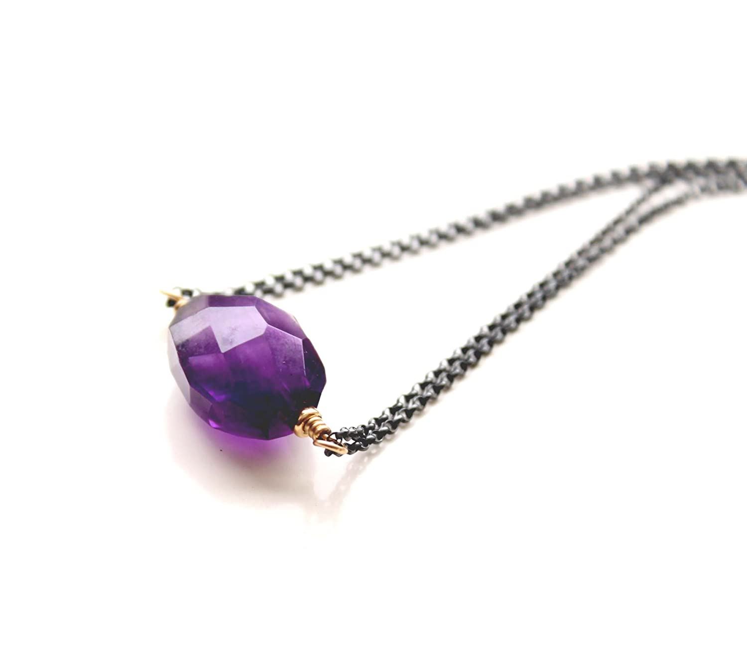 Natural Amethyst Pendant For Women February Mixed Shape Jewelry Chakra Healing Necklace Fashion Faceted
