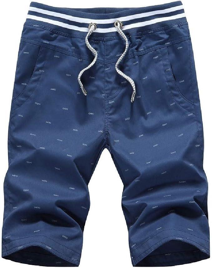 sayahe メンズプリントストレート100%コットンプラスサイズポケット薄いジョガージムショートパンツ