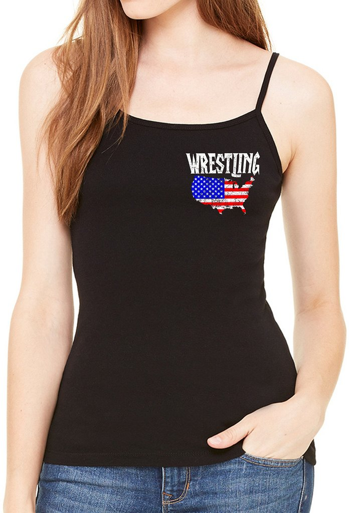 Interstate Apparel Inc Junior's Wrestling American Flag Map Black Spaghetti Strap T-Shirt 3X-Large Black by Interstate Apparel Inc