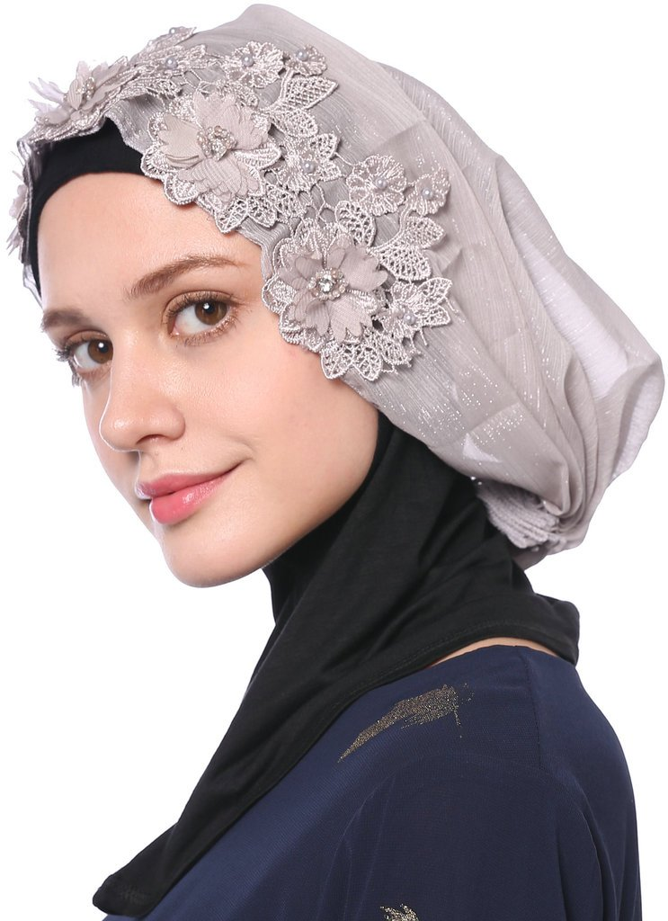 YI HENG MEI Women's Breathable Gold Glitter Flower Rhinestones Muslim Wedding Hijab Headscarf,Gray