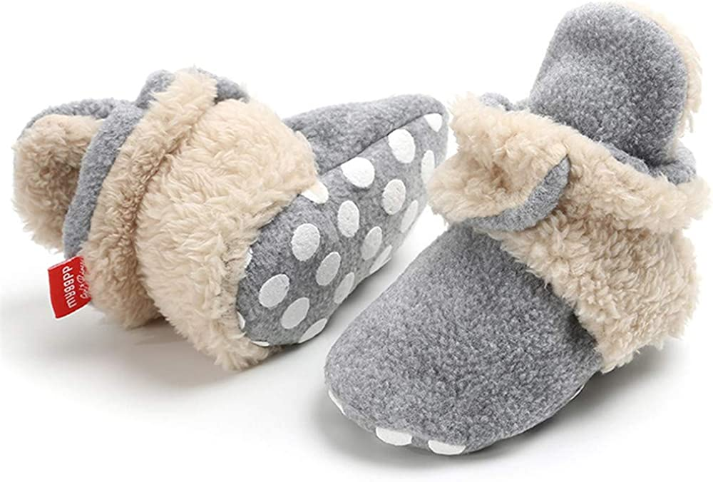 Infant Baby Girls Boys Fleece Booties Soft Non-Slip Sole Winter Warm Cozy with Grippers Stay On Socks Newborn Toddler First Walkers Crib Shoes