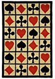 2'6''x8' Ivory Black Red Poker Cards Playing Cards Ace Spades Club Diamonds Hearts Printed Runner Rug, Themed, Soft Wool, Indoor Graphical Pattern Living Room Rectangle Carpet