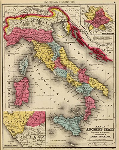 1875 Classical Atlas | Map of ancient Italy. Engraved to illustrate Mitchell's ancient geography. (with) Plan of ancient Rome. (with) Vicinity of ancient Rome. | Antique Vintage Map (Map 1875 Atlas)