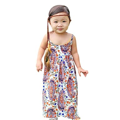 906ad230a Amazon.com  Fheaven Toddler Baby Girls Clothes Sundress Boho Floral ...