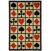 29x49 Ivory Black Red Poker Cards Playing Cards Ace Spades Club Diamonds Hearts Printed Runner Rug, Soft Wool, Indoor Graphical Pattern Living Room Rectangle Carpet, Themed