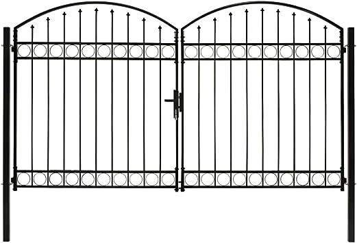 vidaXL Cancela Valla Doble Puerta con Arco Puerta Jardín Accesorios para Entrada Funcional Moderna Estable Duradera Práctica 300x200cm Acero Negro: Amazon.es: Bricolaje y herramientas