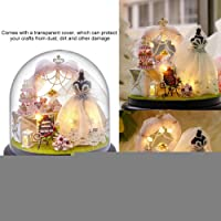 Dollhouse Miniature DIY House Kit, Wooden Dollhouse DIY Handcraft Buildings Glassball with LED Lights, for Home…