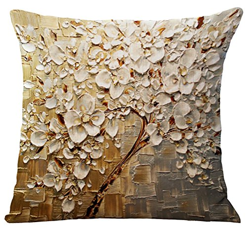ChezMax Flat Printed 3D Oil Painting Effect Home Decorative Cotton Linen Throw Pillow Cover Cushion Case Square Pillowslip for Couch Lounge White Floral 45 X 45 cm