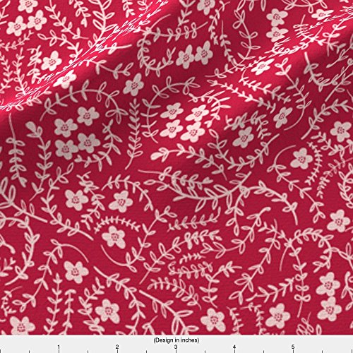 Bohemian Raspberry (Petal Fabric Scattered (Raspberry) by Nouveau Bohemian Printed on Satin Fabric by the Yard by Spoonflower)