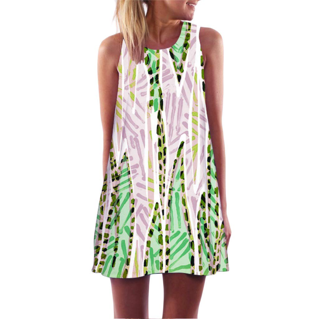 Ivo Ryan Women's Dress - Vintage Boho Summer Sleeveless Beach Printed Short Mini Dresses