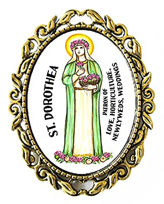 """St Dorothea Patron of Love, Weddings, Newlyweds, Horticulture Huge 2"""" Antique Bronze Gold Pin Brooche"""