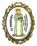St Dorothea Patron of Love, Weddings, Newlyweds, Horticulture Huge 2'' Antique Bronze Gold Pin Brooche