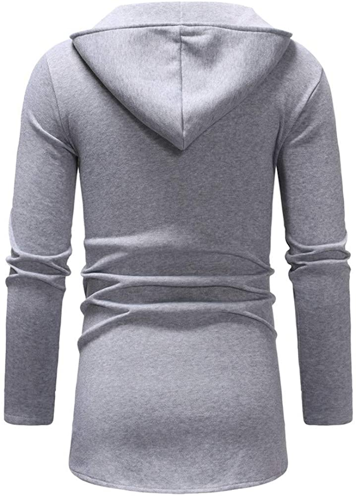 Siviki Mens Autumn Winter Long Casual Slanted Zipper Pure Color Pullover Long Sleeve Hooded Sweatshirt Tops Blouse Coat