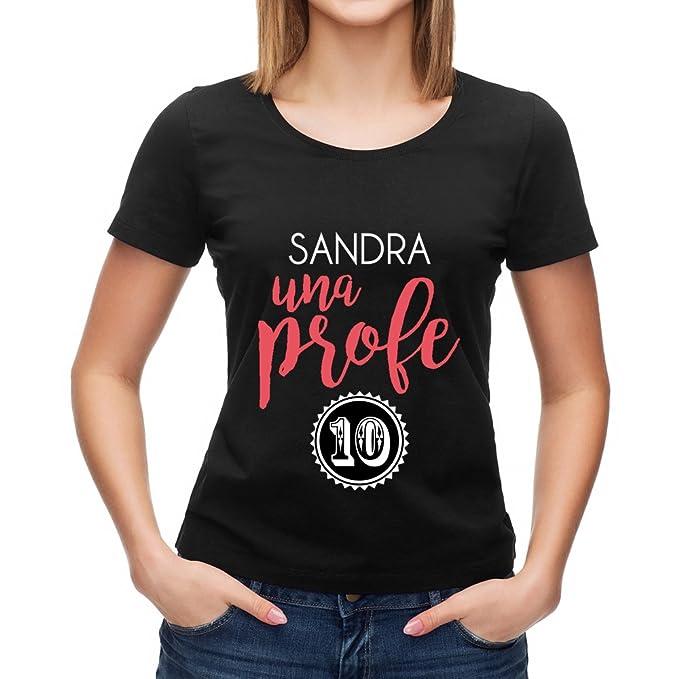 Calledelregalo Regalo Personalizable para Profesores: Camiseta Súper Profe Personalizada con su Nombre y el Texto Que Tú… GTpl7
