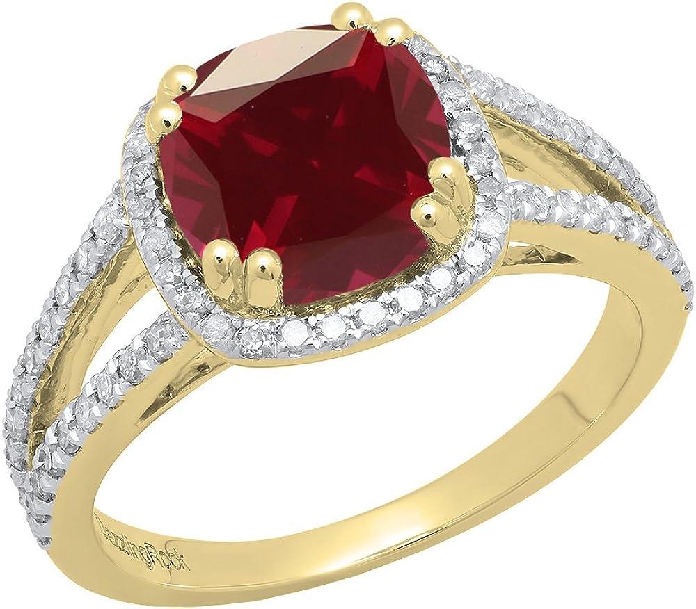 Dazzlingrock Collection - Anillo de compromiso para mujer (14 K, 8 mm), diseño de gemas y diamantes redondos, color amarillo y dorado