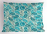 Ambesonne Turquoise Pillow Sham, Paisley Pattern Antique Floral Pattern Ornaments Stylized Classical Middle Eastern, Decorative Standard King Size Printed Pillowcase, 36 X 20 inches, Aqua Teal