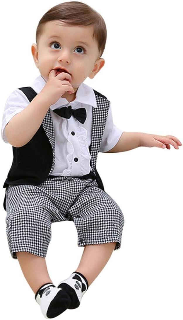 Infant Boys Jumpsuit Short Sleeve Bowtie Dress Shirt Plaid Set Swallowtail Romper Outfits