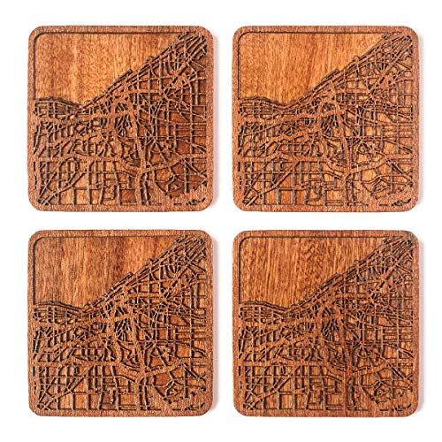 Cleveland Map Coaster, Set of 4, Sapele Wooden Coaster with city map, Multiple city optional, -