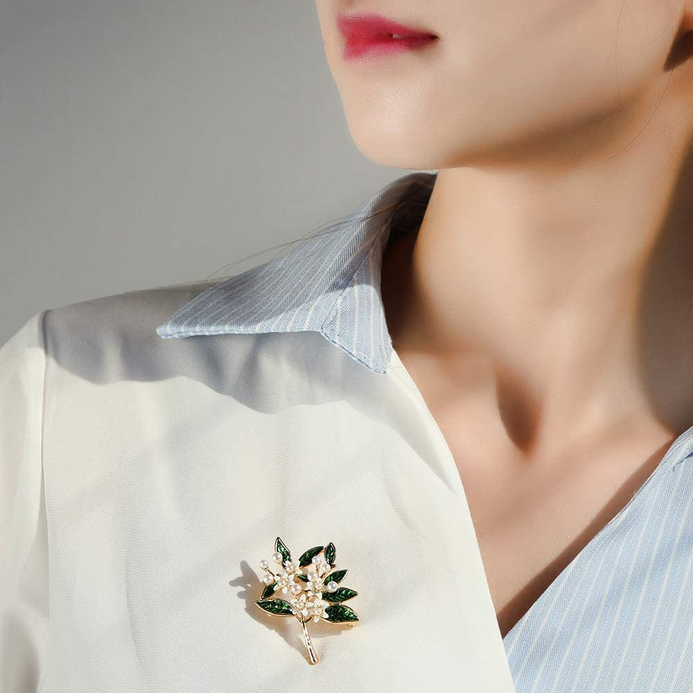 Brooch and Accessories X1010 Gardenia YYOGG Korean Version of The Wild Fashions Pin Brooch Pearl