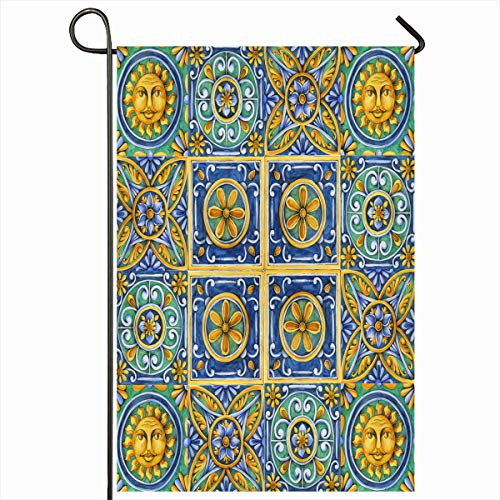 Ahawoso Outdoor Garden Flag 12x18 Inches Old Green Ceramic On Tiles Watercolor Pain Italy Brown Vintage Blue Italian Ancient Graphic Abstract Seasonal Double Sided Home Decorative House Yard Sign