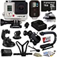 GoPro HERO3+ Black Edition with Huge Accessory Bundle Including Extra Battery + Travel Car Charger + 16GB Memory Card + Car Dash Window Mount + Chest Mount Strap + Bike Bicycle Mount + Head Helmet Mount Strap + Action Grip + Cleaning Kit
