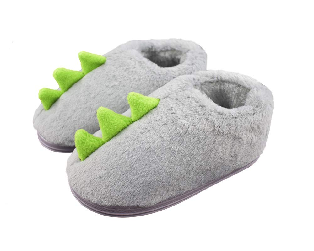 Boys Little Child Comfy Fleece Plush Indoor Slippers Cute Green Dinosaur Warm Shoes Size 11.5-12.5 US Grey