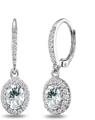 Sterling Oval Earrings Diamond Cut//Textured Oval Link Sterling Dangle Earrings