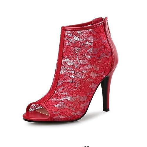 Boca Zapatos Pez Mujer Cortas Botas Tacones Calado De Altos xTOFTqSw0g