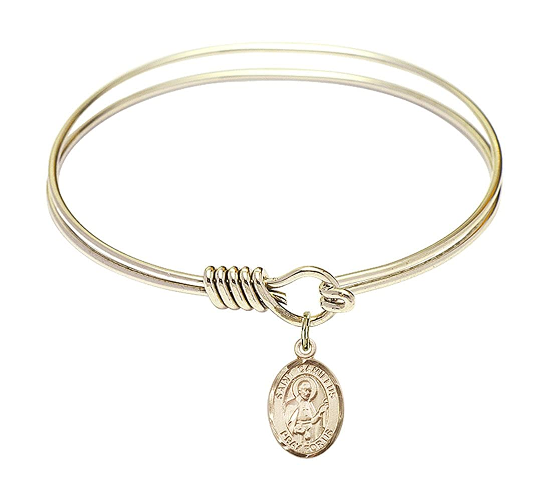DiamondJewelryNY Eye Hook Bangle Bracelet with a St Camillus of Lellis Charm.