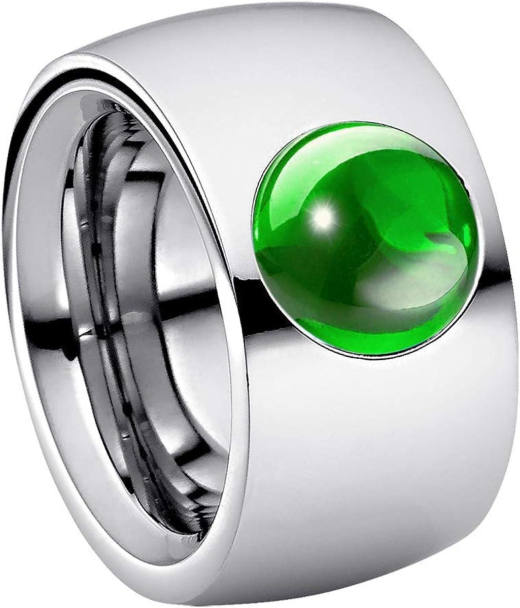 Heideman Ring Ladies Coma14 Cabo Acero Inoxidable Color Plata Mate Anillo para Mujeres con cabujón Color Verde Menta