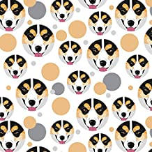 Premium Gift Wrap Wrapping Paper Roll Pattern - Dog Puppy - Pembroke Welsh Corgi Face Tri-color