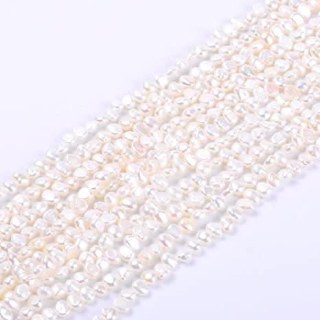 Lot 10 2mm-4mm White Freshwater Rice Potato Irregular Pearls Loose Gems Beads