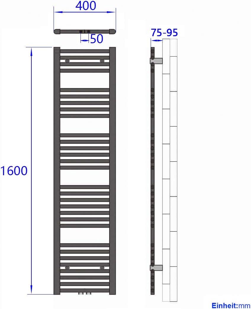 WELMAX Bad Heizk/örper 400 x 1000 mm Handtuchtrockner Antrazit Bad-Heizk/örper Handtuchheizk/örper Mittelanschluss Heizung 453 Watt Leistung Handtuchw/ärmer