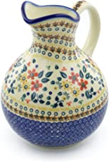Polish Pottery 10 Cup Pitcher (Red Anemone Meadow Theme) + Certificate of Authenticity