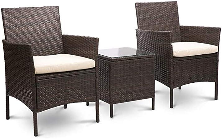 Hmcozy Mimbre Muebles de jardín Conjunto de 3 Piezas de Patio al Aire Libre Patio de ratán Sistema Incluye Cojín Un Vector de Cristal Negro, Brown,Marrón: Amazon.es: Hogar