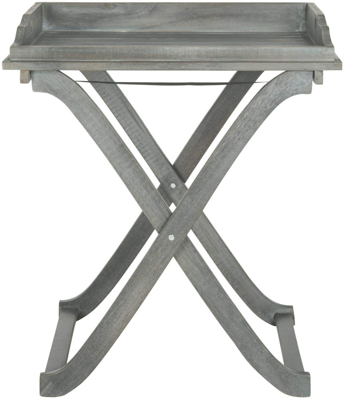 Safavieh Outdoor Living Collection Covina Tray Table, Ash Grey