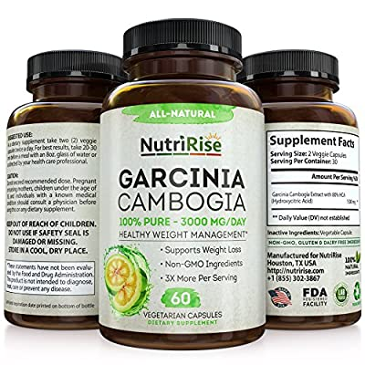 100% Pure Garcinia Cambogia Extract With HCA For Fast Fat Burn. Best Appetite Suppressant & Carb Blocker. Natural, Clinically Proven Weight Loss Supplement. Best Garcinia Cambogia Raw Diet Pills 60 Capsules