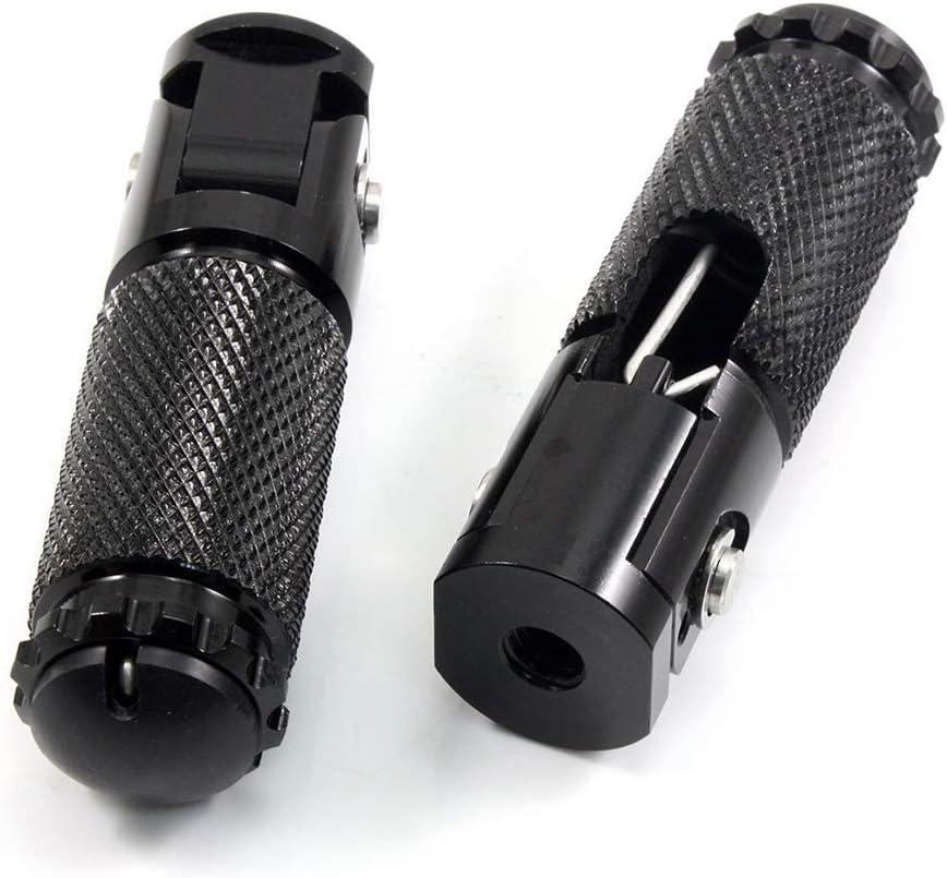 Voupuoda 2pcs Black Sliver CNC Aluminum Universal Motorcycle Motor Bike Folding Footrests Footpegs Foot Rests Pegs Rear Pedals Set Parts