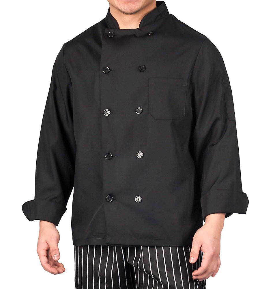 KNG Black Lightweight Long Sleeve Chef Coat