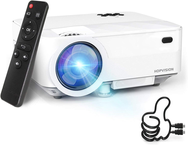 HOPVISION Mini Proyector 1080P Full HD,Proyector Portátil de 5000 Lúmenes con Pantalla Máx de 180