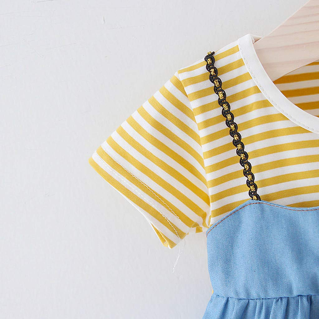 Anxinke Baby Girls Short Sleeve Denim Stripes Patchwork Casual Dress