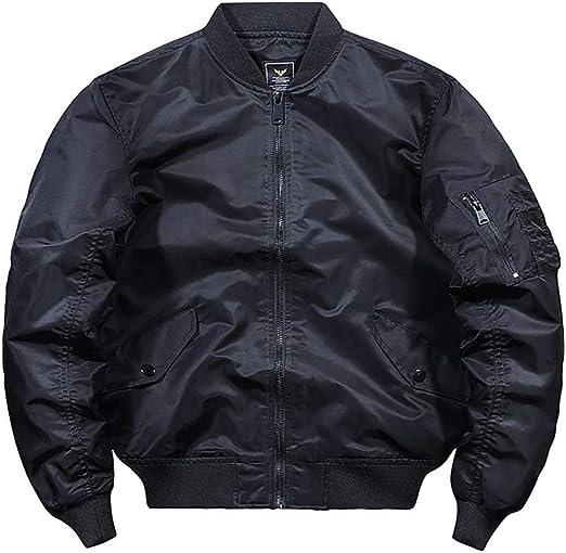 メンズジャケット、カジュアルフライトボンバージャケット、軽量冬裏地付き暖かいウィンドブレーカーコート
