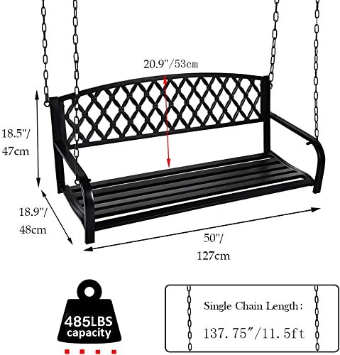 USSerenaY Outdoor Metal Hanging Patio Porch Swing